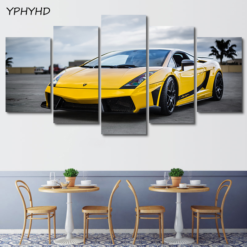 YPHYHD 5 Piece Painting Wall Art Modern Painting Yellow Sports Car Painting Wall Art Canvas Picture Home Decoration Living Room