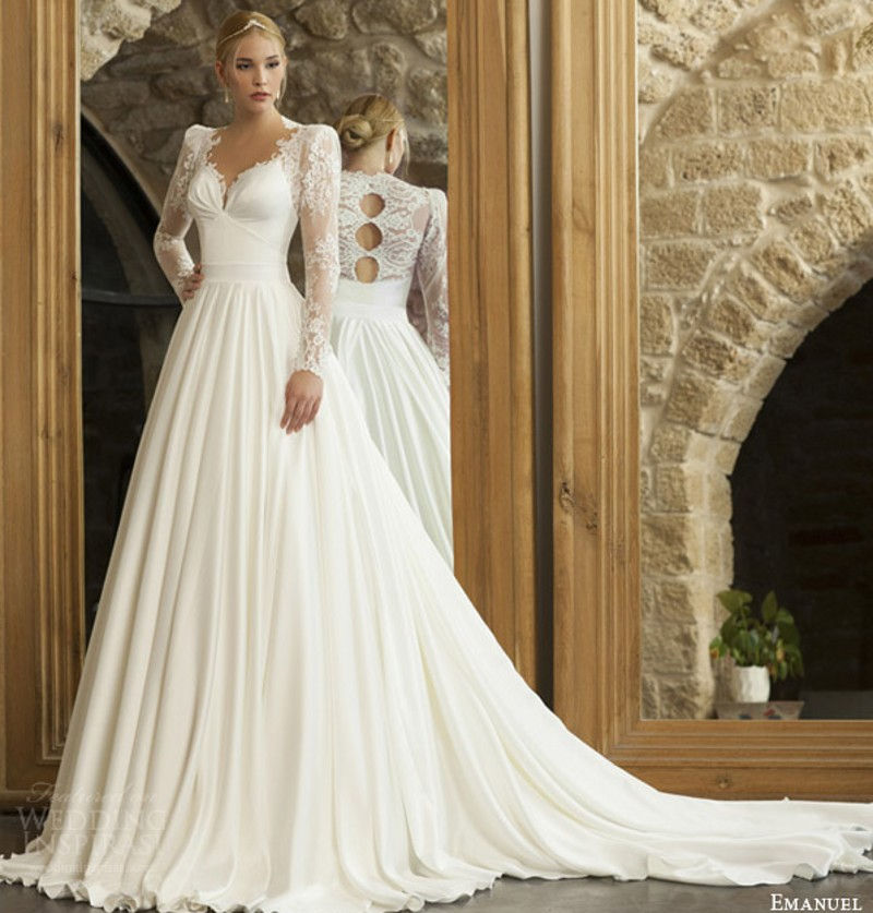 haute couture bridal 2015 long sleeve wedding dress structured shoulders back trio keyholes jersey bridal gowns