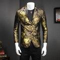 Estilo europeu 2017 Moda Projetos Homens Blazer Floral Fino Vestido de Hip Hop Singer Equipado Casual Paletós Masculinos 5XL