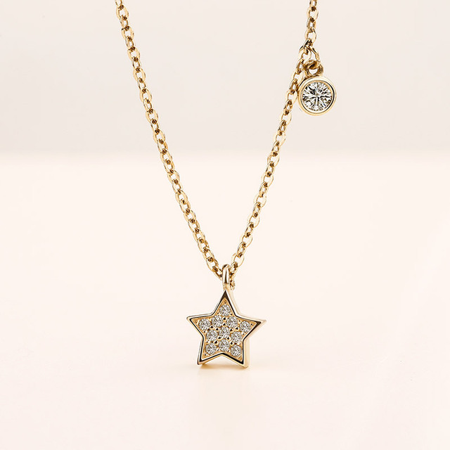 Genuine 925 Sterling Silver 18K Gold Necklaces for Women 2018 New Fine Jewelry AAA CZ Star Necklaces & Pendant