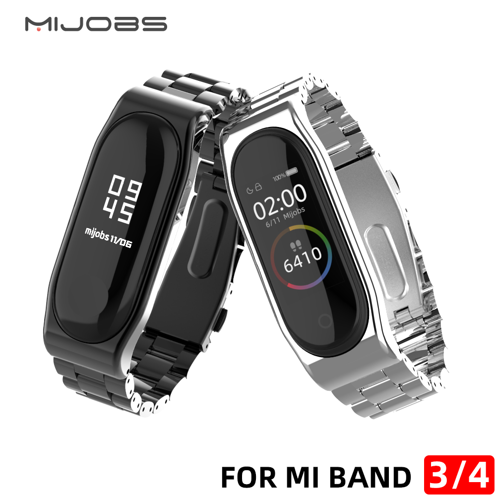 Stainless Steel Wrist Strap For Xiaomi Mi Band 4 Metal Watch Band Smart Bracelet Miband 3 Compatible Watch Straps Mi 3