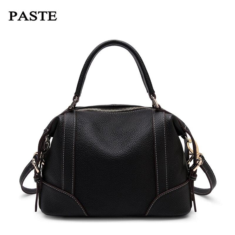 PASTE Genuine Leather Handbag For Women Trendy Female Shoulder Bag Real Cowskin Women Messenger Bag Brand Design Daily Bag