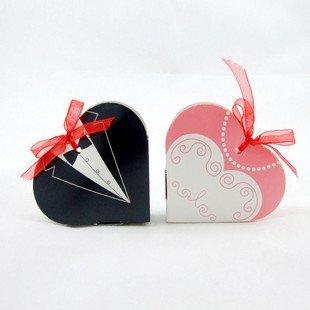 7.2*6*1.6(CM)  Free shipping 200pcs/lot  heart shape BRIDE GROOM  paper WEDDING BOX   meiguixinyu30