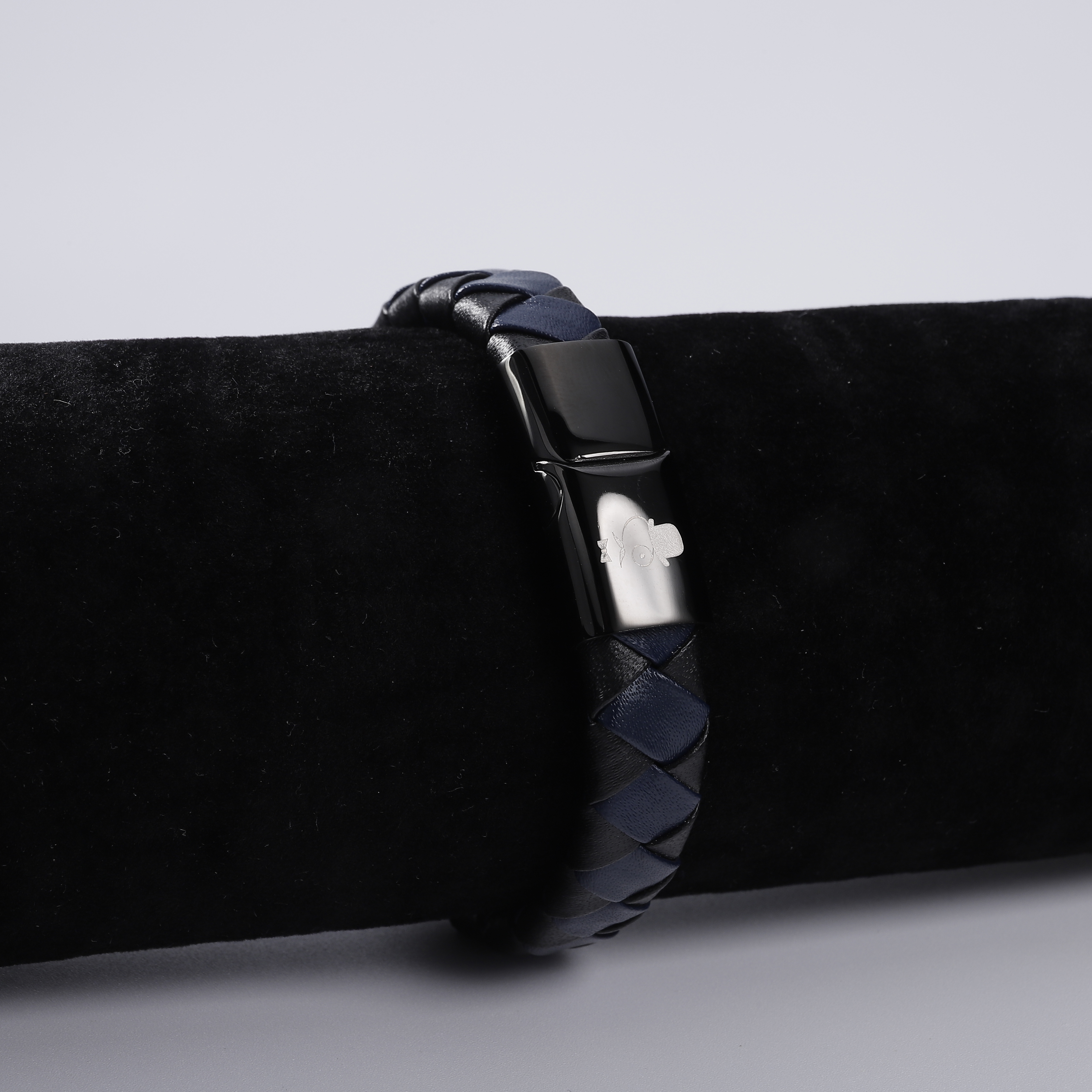 Jewelry Black blue Braided Leather Bracelet Stainless steel magnetic clasp Fashion Bracelet Popular retro men 39 s bracelet in Bangles from Jewelry amp Accessories
