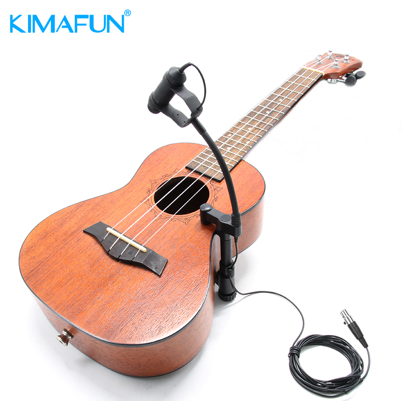 KIMAFUN CX100 Portable Wired Condenser Musical Instrument Gooseneck Mic Microphone for Guitar Violin Viola Cello Mandolin etc 4 kinds plug condenser wired stage saxophone microphone professional trumpet sax gooseneck musical instrument mic
