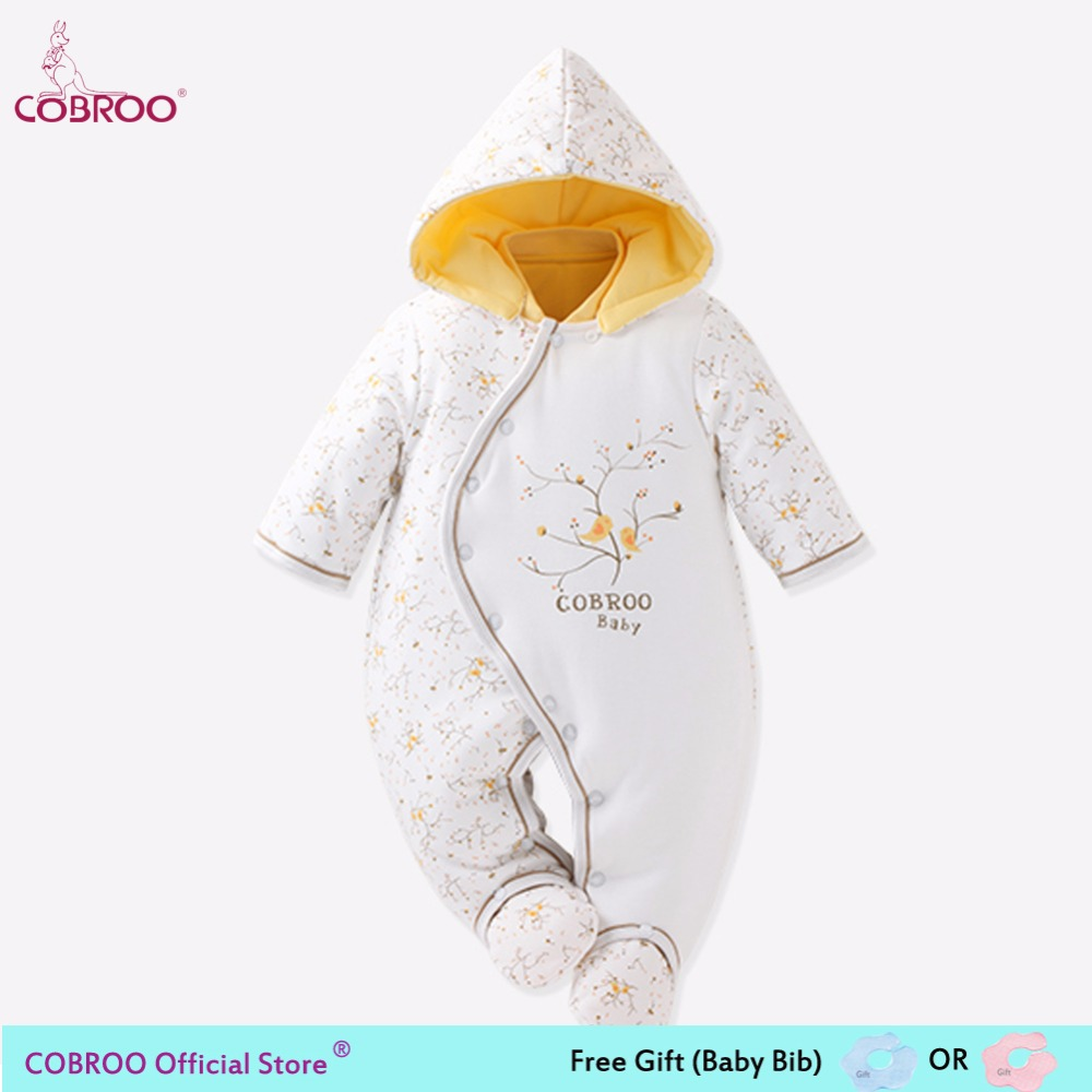 COBROO Newborn Baby Footies 0 6 Month 100% Cotton 2018 Winter Infant Clothes Baby Girl Boy Jumpsuit Hooded Kid Outerwear 150004