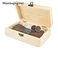 Mantieqingway Business Men S Wood Bowtie Cufflinks Set For Wedding Formal Suits Geometric Wooden Bow Tie