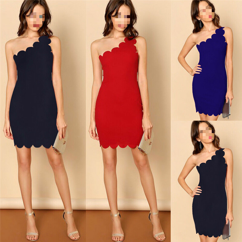 Women Fashion Summer sleeveless one shoulder slim fit party mini dress sexy evening gown black red navy blue solid