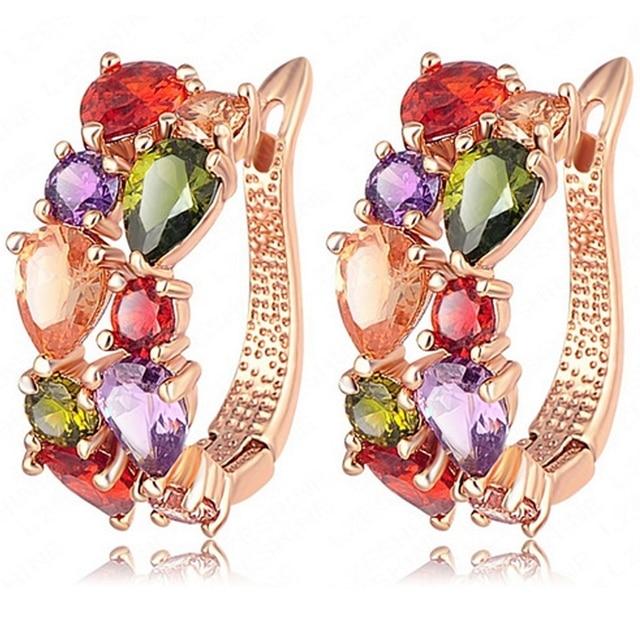 Delicado Multicolor Solid Rose Gold Filled Europa Womens Pendientes