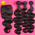 7A Unpressed Peruvian Virgin Hair with Closure, Peruvian Virgin Hair Body Wave with Lace Closure 3 Bundles with Closure DHL Free