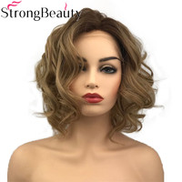 StrongBeauty Synthetic Lace Front Wig Medium Curly Natural Wigs Light Brown/Grey Ombre Hair