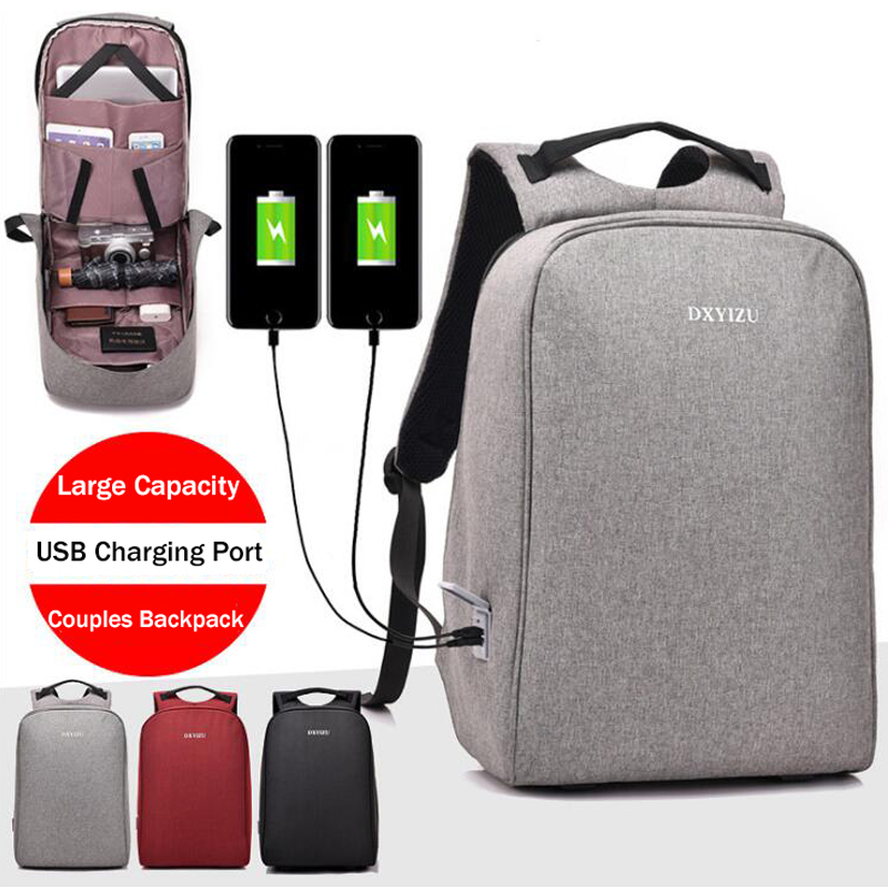 New Arrival Laptop Backpack For Men Women Shoulder Bag Double USB Charging Port Female Backpack Solid Red Casual Travel mochila