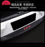 1pc carbon fiber grain PU leather for 2015 2016 2017 2018 Mazda CX 3 CX 3 car stickers accessories rear bumper protective cover