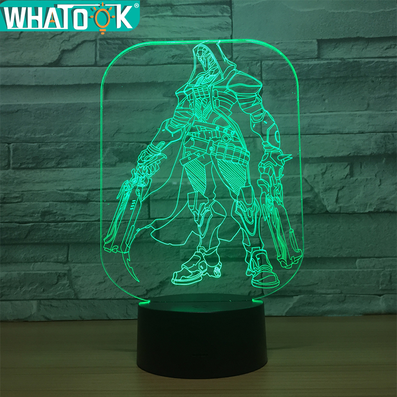 Reaper 3D Lamp LED Night Light Colorful Atmosphere Light 3D Table Lamp With Touch Butoon Usb Led lamp For Children's Toys Gifts
