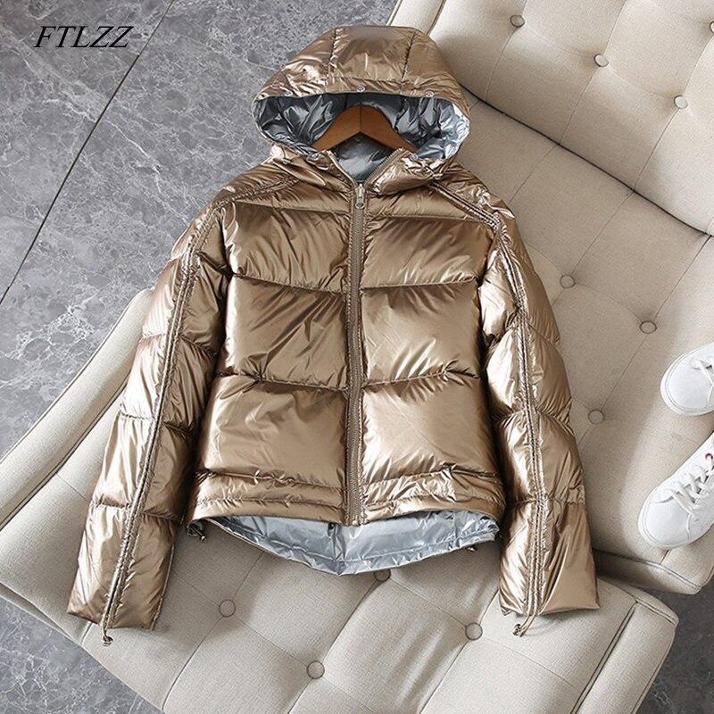 FTLZZ Silver Pink Down Coat Winter Jacket Women Hooded White Duck Down Parkas Female Loose Double