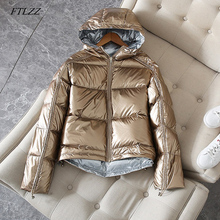 FTLZZ Silver Pink Down Coat Winter Jacket Women Hooded White