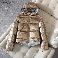FTLZZ Silver Pink Down Coat Winter Jacket Women Hooded White Duck Down Parkas Female Loose Double Sided Waterproof Outerwear