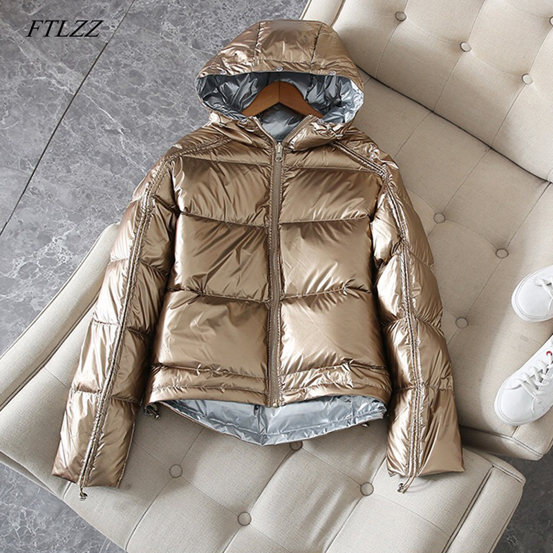 FTLZZ Silver Pink   Down     Coat   Winter Jacket Women Hooded White Duck   Down   Parkas Female Loose Double Sided Waterproof Outerwear