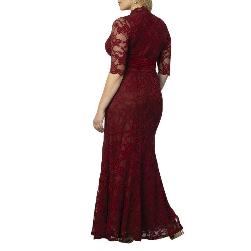 V Robes 5xl Femmes 8xl Bourgogne 9xl Taille Pour 4xl Femme Maxi Cou Dentelle Manches 7xl Plus La Demi Grande Robe 6xl wgUZqrRBXg