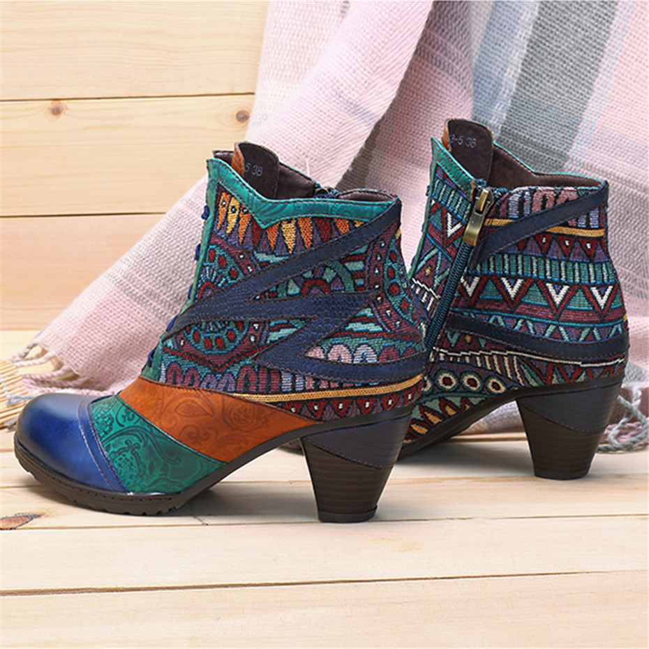 D Knight Bohemian Splicing Women Boots Retro Genuine Leather Shoes Woman Zipper Mid Heels Ankle Boots Spring Autumn Women Shoes (2)