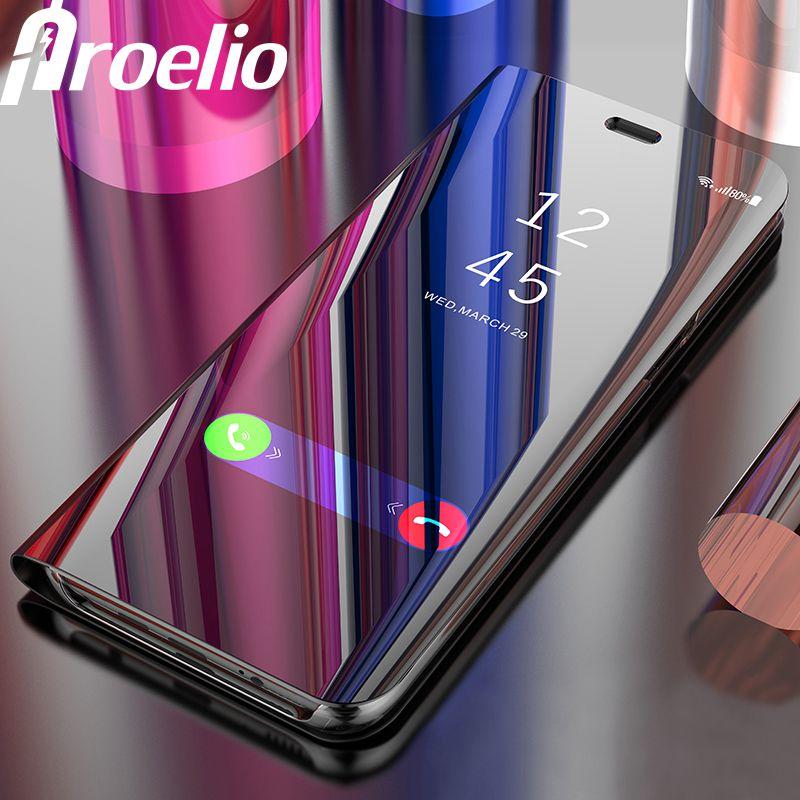 Tactile Flip Stand Cas pour Samsung Galaxy S9 8 7 6 Plus S6 S7 Bord Pour Samsung Note8 Téléphone Cas Smart Puce Clear View couverture