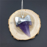 MY0903 Purple Agates Shark Teeth Pendant Necklace With Silver Color Chain