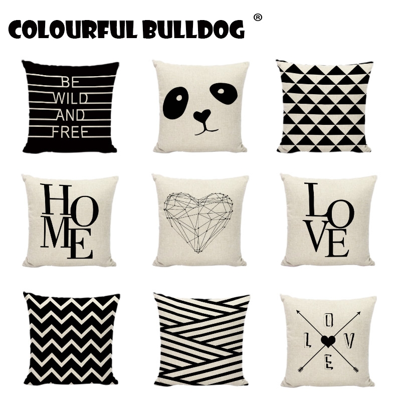 Cool Us 2 82 23 Off Cushion Covers Geometric Black And White Lines Deer Love Pattern Gaming Chair Seats Decor Linen Cotton Square Throw Pillow Cases In Uwap Interior Chair Design Uwaporg