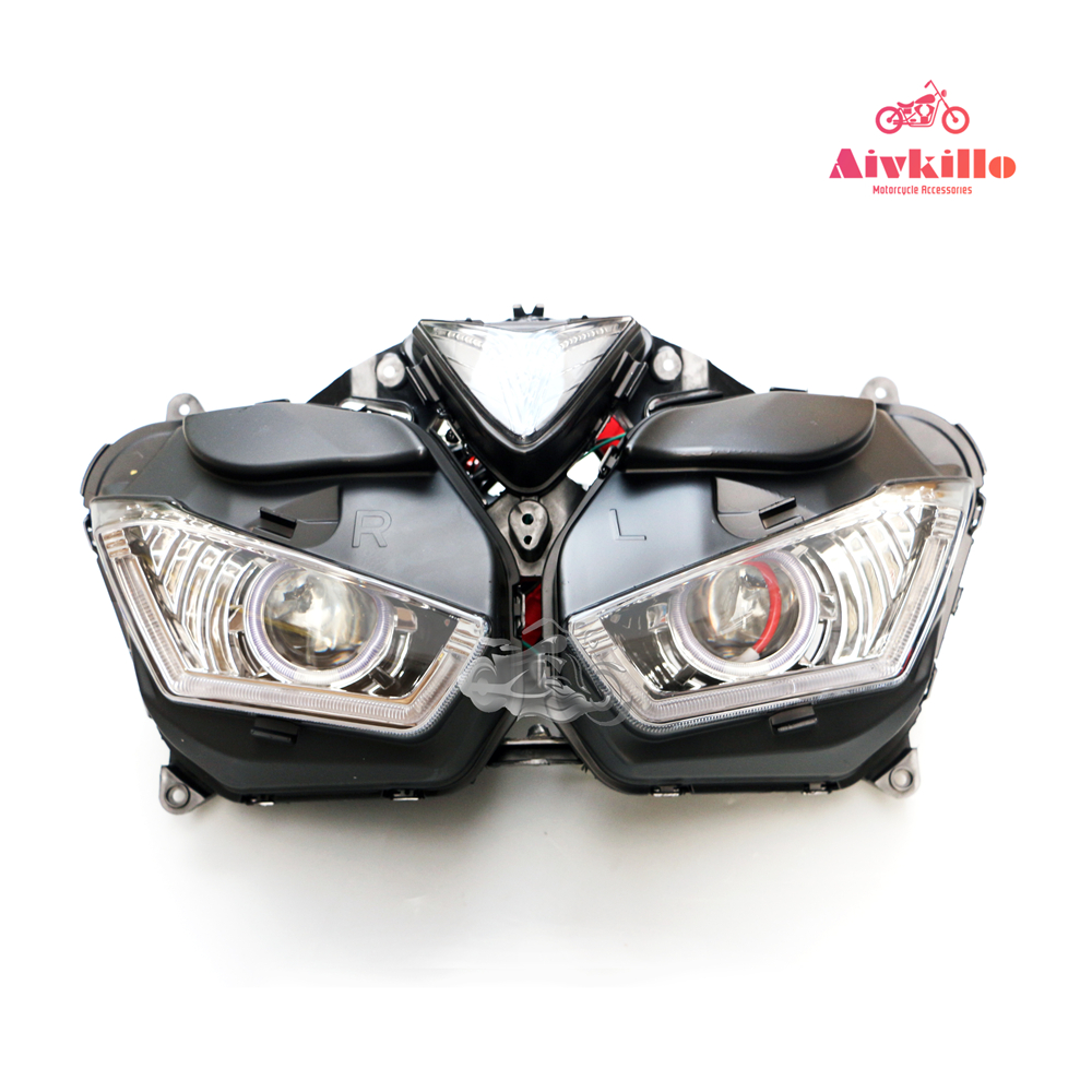 Motorcycle Spare parts headlamp with angel eyes HID Projector headlight with project for Yamaha YZF R3 YZF R25 2013 2016 14 15