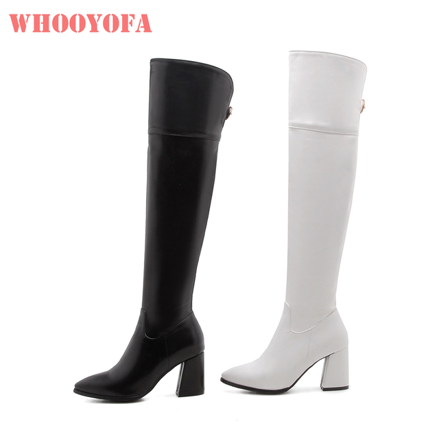3523a0996f3 Brand New Winter Sexy Black White Women Thigh High Boots Glamour 3 inch Heels  Lady Riding Shoes W188 Plus Big Size 10 32 45 47