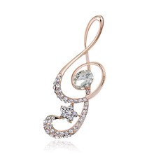 Musical Notation Brooches For Women New Austria Crystal Rhinestone Brooch Pins Jewelry
