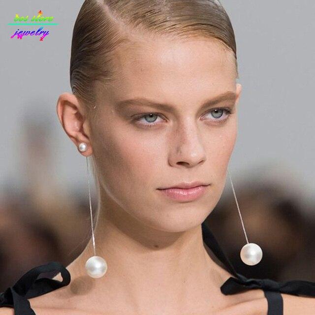 2017 New Hyperbole Style Created Pearl Super Long Earrings Gold Dangle Bijoux
