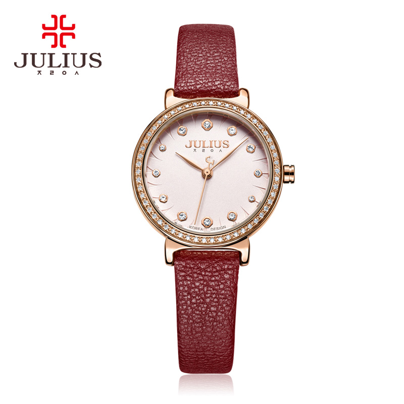 Claw-setting Cubic Zirconia Women's Watch Japan Quartz Hours Fine Fashion Clock Bracelet Leather Girl Birthday Gift Julius платье укороченное расклешённое с рисунком рукава 3 4