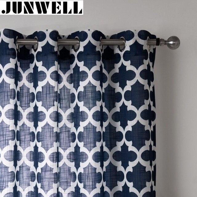 Junwell Poly/Ligne Tissu Panneau Semi Blackout Rideaux Pour Salon