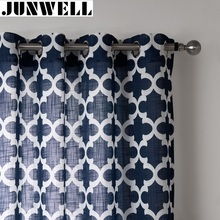 Junwell Poly Line Fabric Panel Semi Blackout Curtains For Living Room Linen Look Curtain For Bedroom