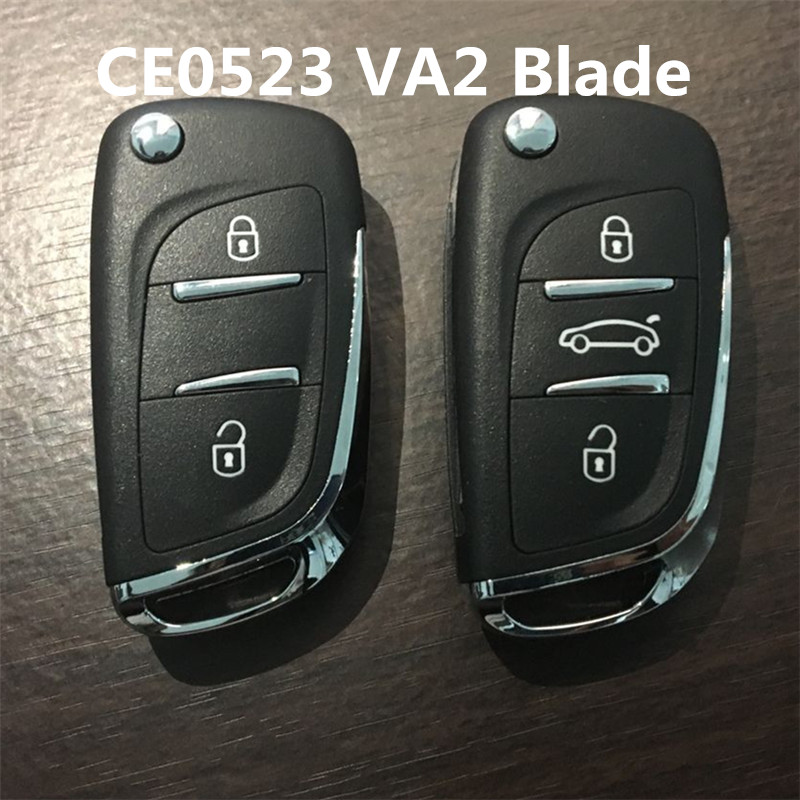 AUTEWODE Refit Remote Key Shell For Peugeot 306 407 807 Partner  CE0523 VA2 Blade Blank Fob Case Blade NO Grooved With Logo