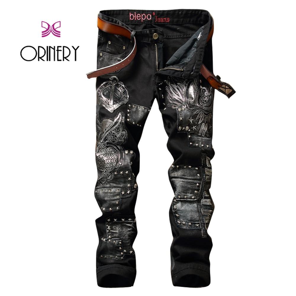 ФОТО ORINERY High Quality Embroidery Patchwork Jeans Men 2017 Designer Black Rivet Biker Jeans Straight Denim Pants Brand Clothing