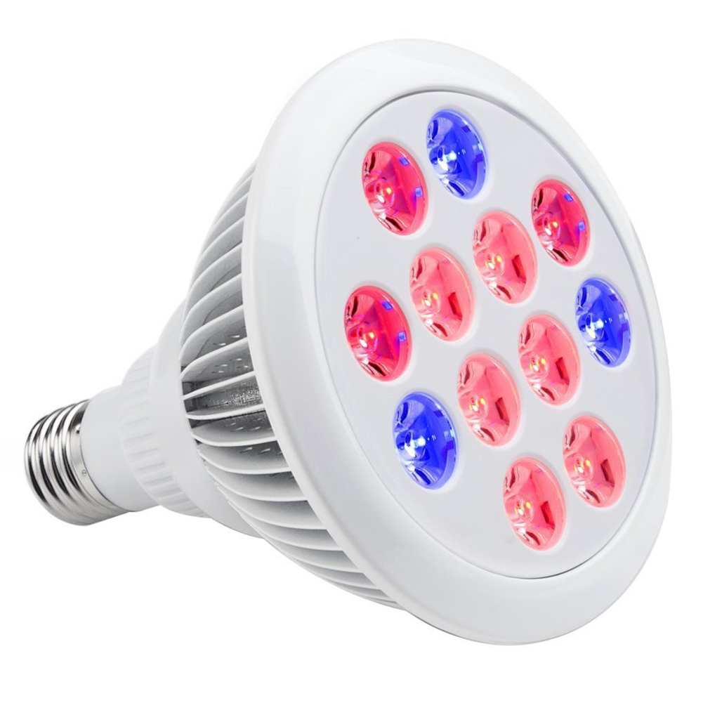 Led Grow Light Bulb , Miracle Grow Plant Light For Hydropoics Greenhouse Organic ( E27 12w 3 Bands)
