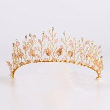 FORSEVEN Handmade Gold Pearls Crystal tiara Headband For Summer Women Rhinestones Hair Jewelry Wedding  Bride Hair Accessories