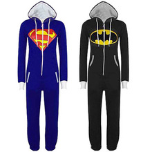 Супергероя onesie onesies piece супермен бэтмен one взрослых хлопка пижамы мужской