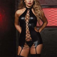 2018 3XL/5XL Plus Size Lingerie Sex Kostuums Vrouwen Zwart Lederen Erotische Lingerie Sexy Ondergoed Porno Teddy Babydoll Erotische jurk