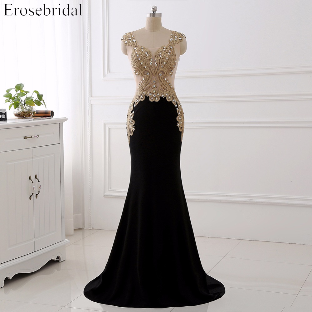 Erosebridal Gold Lace Mermaid Evening Dress With Train Sexy Illusion Body Elegant Long Formal Dress Sleeveless Sparkly Beaded