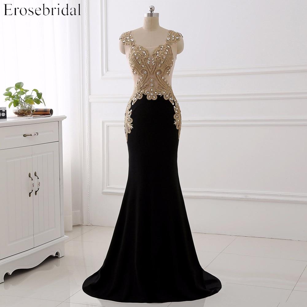 Erosebridal Gold Lace Mermaid Evening Dress With Train Sexy Illusion Body Elegant Long Formal Dress Sleeveless Sparkly Beaded