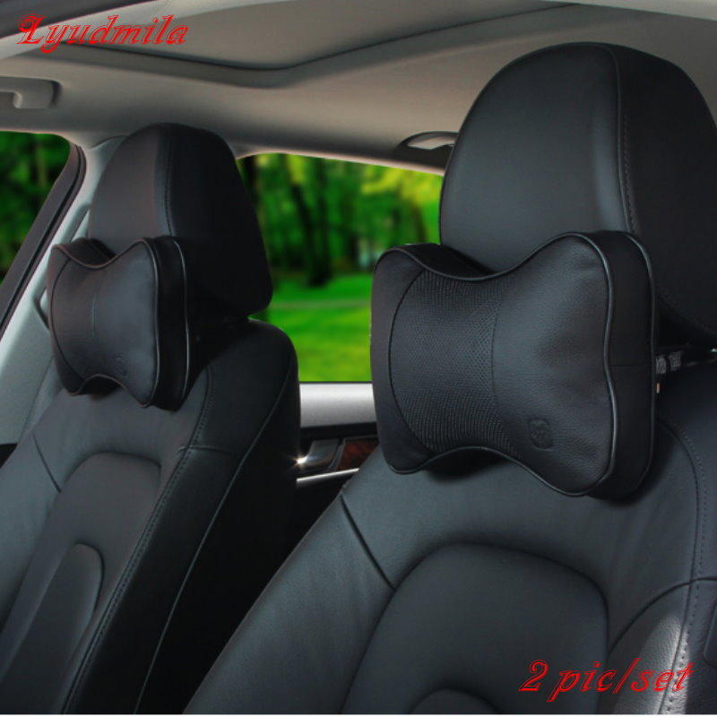 Hot Selling For Mercedes Benz For BMW / Leather Car Headrest / Neck Auto Safety Pillow / Car Cowhide Seat Cushion Bone Pillow