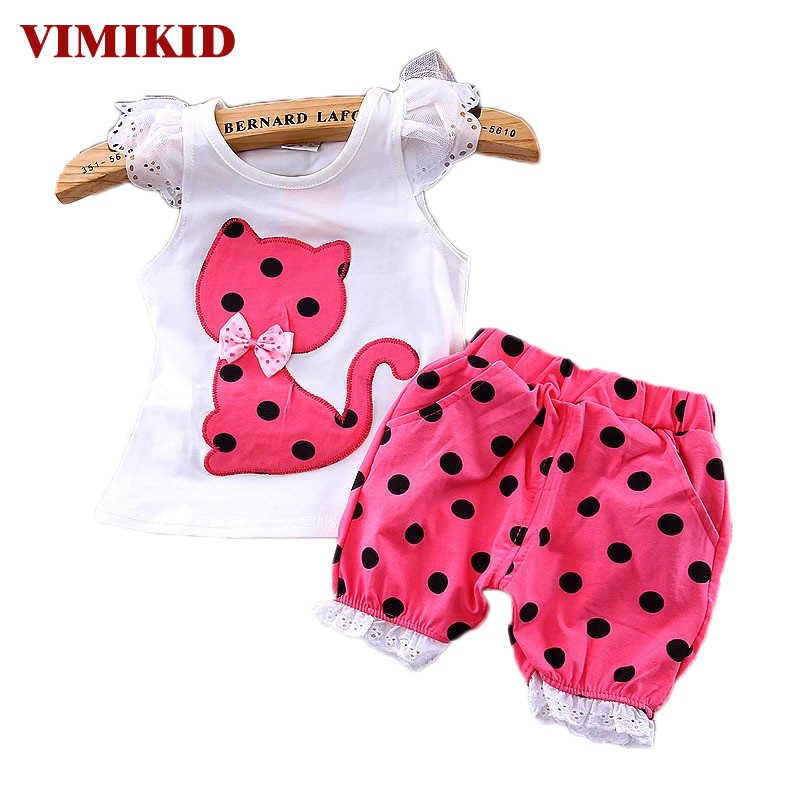 VIMIKID verano coreano bebé Niñas Ropa conjunto niños arco gato Camisa + Pantalones cortos traje 2 piezas niños polka dot ropa conjunto traje k1 k2