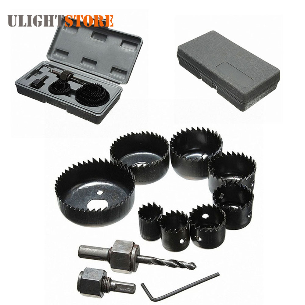 11pcs/set! DIY Hole Saw Cutter Cutting Set Kit Circular Round Case Drill Bits Tool for 19-64mm Wood Sheet Metal Alloys 15pcs hole saw cutting set kit drilling tool wood metal cutter 19 127mm high quality mandrels saws core drill bits woodworking