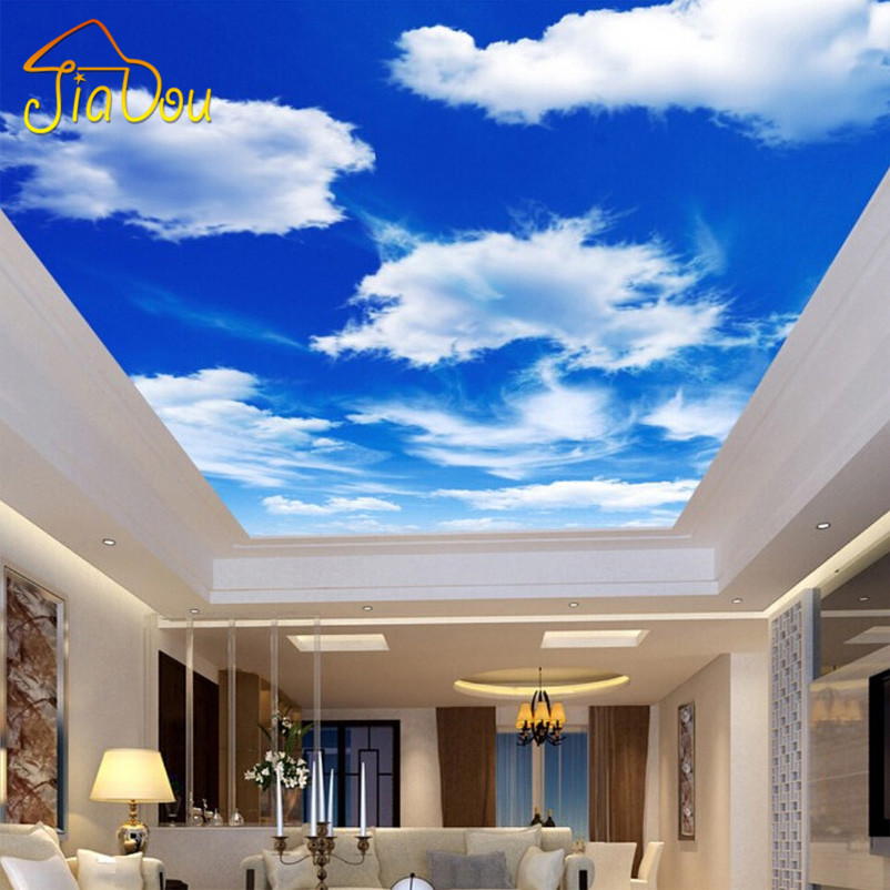 Custom Wall Mural Large Wall Painting Blue Sky And White Clouds Ceiling Wallpaper Murals Living Room Bedroom Ceiling Mural Decor custom baby wallpaper snow white and the seven dwarfs bedroom for the children s room mural backdrop stereoscopic 3d