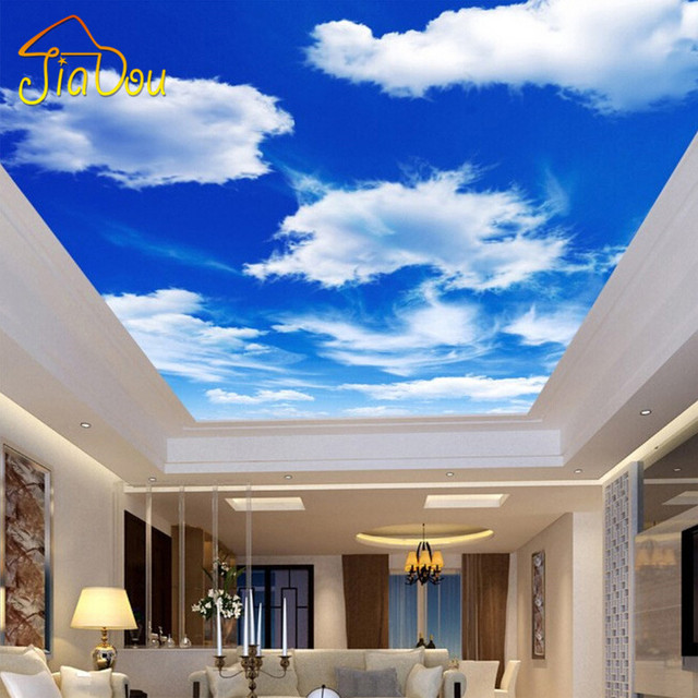 Custom Wall Mural Large Wall Painting Blue Sky And White Clouds ...