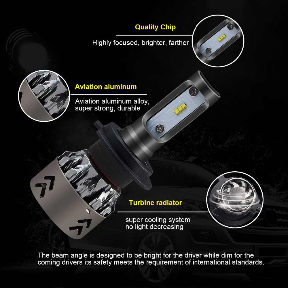 CARLITS 2PCS H4 H7 LED Car Headlights 60W With ZES Chip 11000LM 9005 H1 H8 H9 H11 9006 HB4 9005 HB3 9003 HB2 LEDs Light Bulb 12V