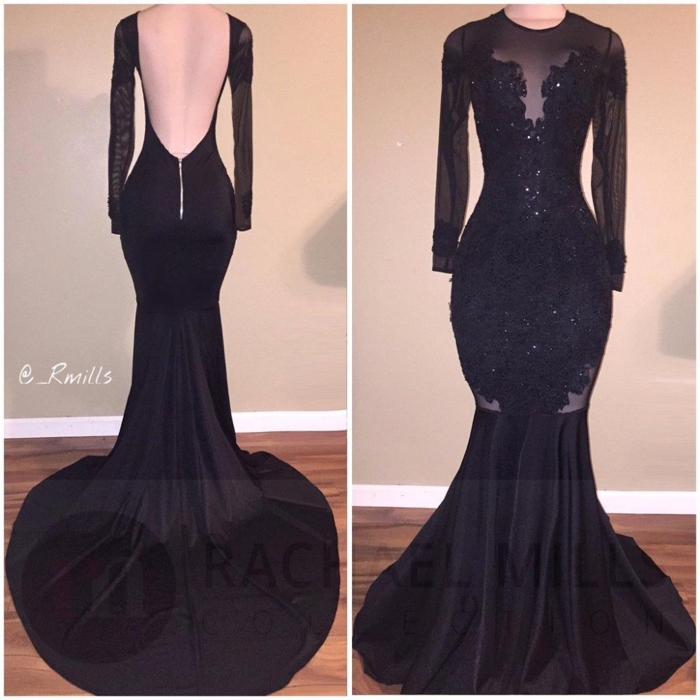 Sexy Backless Black Mermaid Long Sleeve Prom Dresses 2017 ...