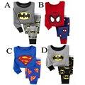 O envio gratuito de moda Inverno Babys Pijamas Spiderman Superman Meninos Algodão Pijamas Meninas Roupas pijamas das Crianças